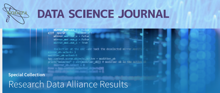 CODATA Data Science Journal Special Collection on Research Data Alliance Results