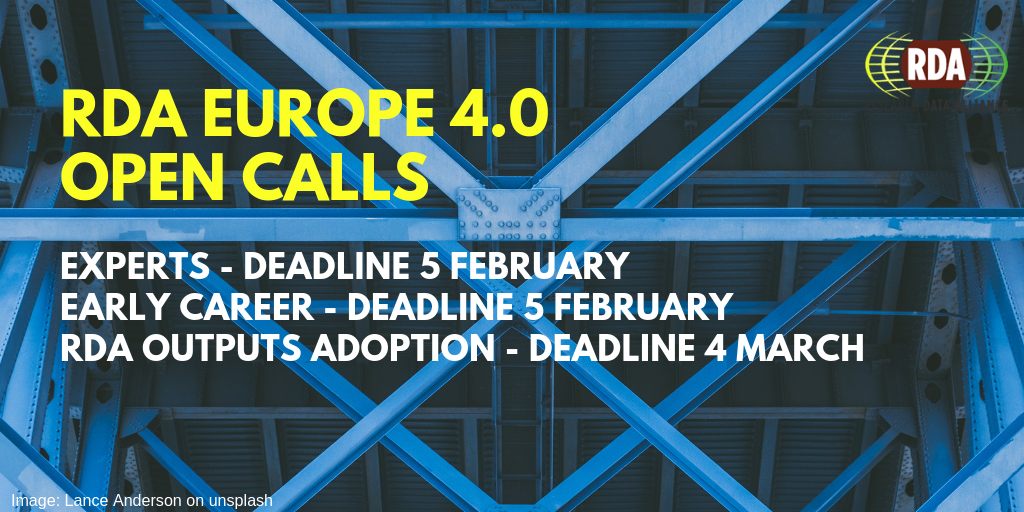 RDA EU open calls for Early Careers, Experts and organisations adopting RDA outputs, to support growing the RDA community.