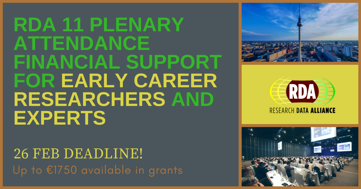 RDA Europe financial support to Early Career and Experts to attend the 11th RDA Plenary meeting, 21-23 March 2018, Berlin
