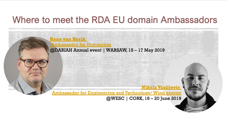Next meetings with the RDA Europe Ambassadors