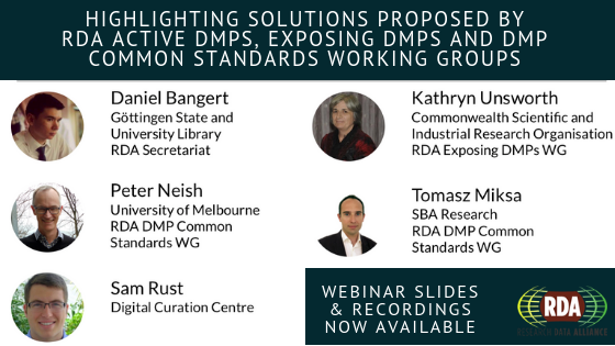 RDA Working Groups Solutions To DMP: Recording And Slides Of The Webinar Now Available
