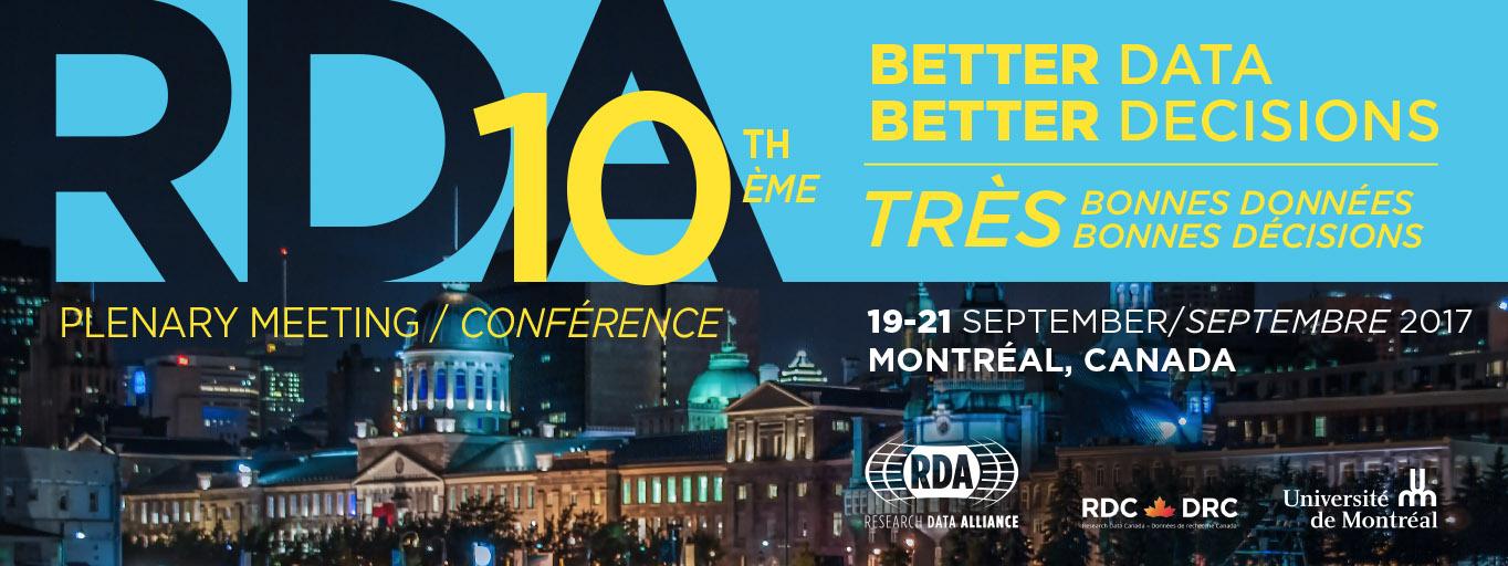 RDA Tenth Plenary Meeting, Montréal, Canada
