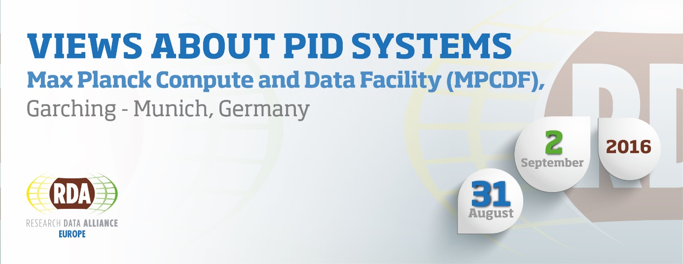 Views about PID Systems. Training Course and Workshop, 31 August - 2 September 2016, Garching/Munich, Germany