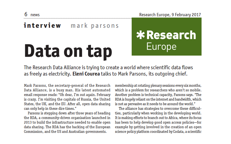 """Data on tap"" - Interview with Mark Parsons, RDA Secretary General"