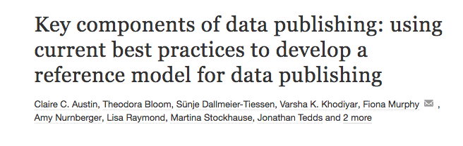 """Key components of data publishing: using current best practices to develop a reference model for data publishing"" - an RDA-WDS Data Publishing Workflows WG article gets published"