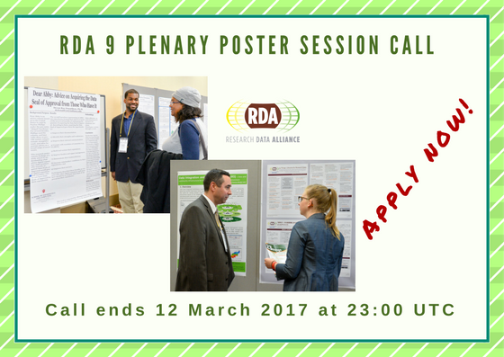 Present your data related research at RDA's 9th Plenary Poster Session